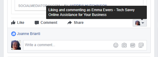 Liking and commenting as Facebok